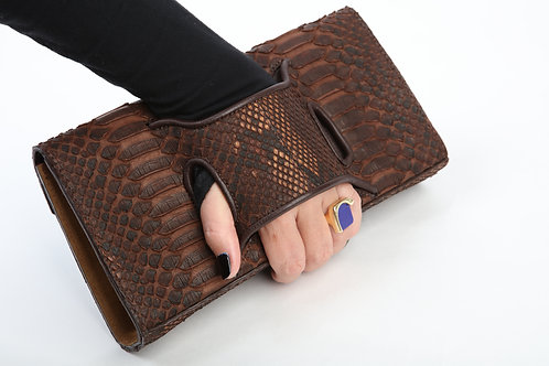 Dark Brown Snake Clutch Handbag