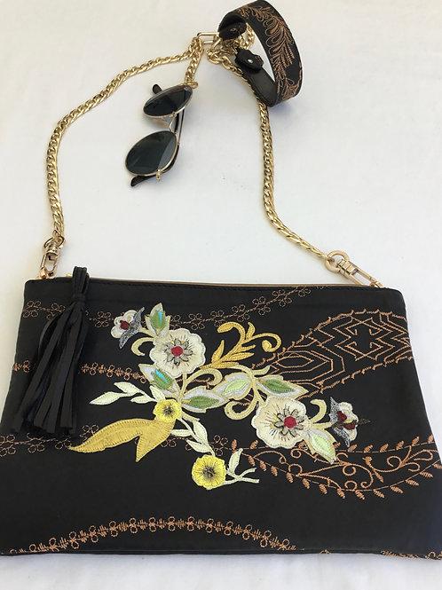 Black embroidered leather handbag