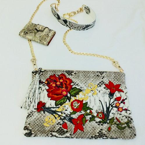 White embroidered snakeskin handbag