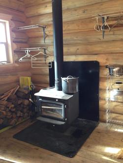 Woodstove in Lightning Strike Cabin