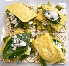 Brown Rice Cakes with Basil, Avocado and Vegan Feta + Egg