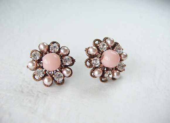PINK CRYSTAL RHINESTONE EARRINGS