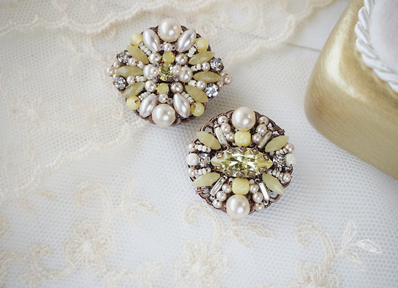 Pale Yellow brooch Vintage style rhinestone jewelry