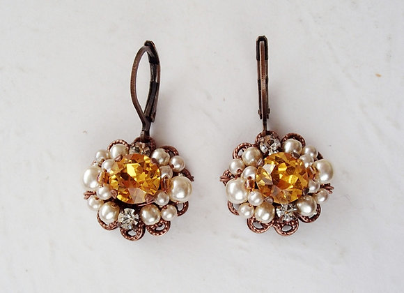 TOPAZ RHINESTONE EARRINGS Historical Style