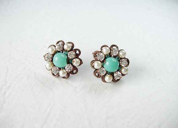 TURQUOISE CRYSTAL RHINESTONE EARRINGS
