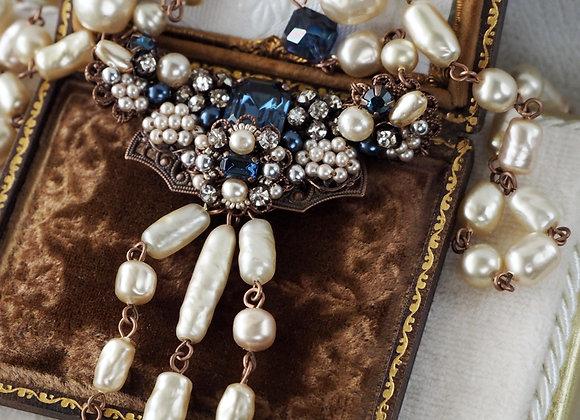 Montana BLUE BAROQUE PEARL NECKLACE rhinestone jewellery