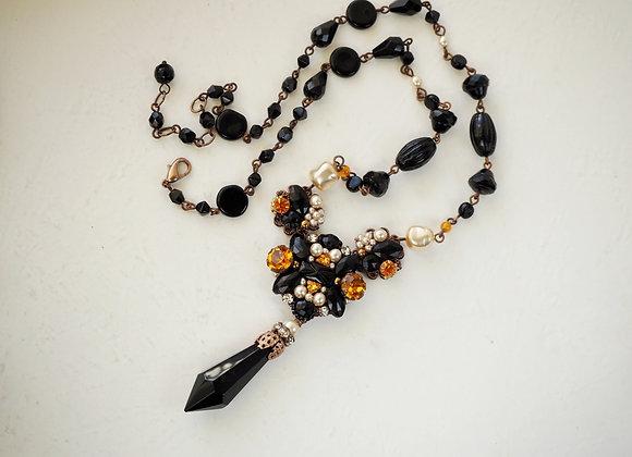 black and orange necklace