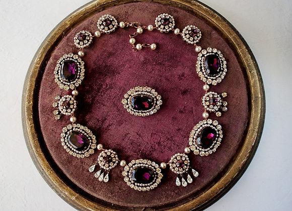 HISTORICAL STYLE PURPLE NECKLACE Rhinestone jewelry