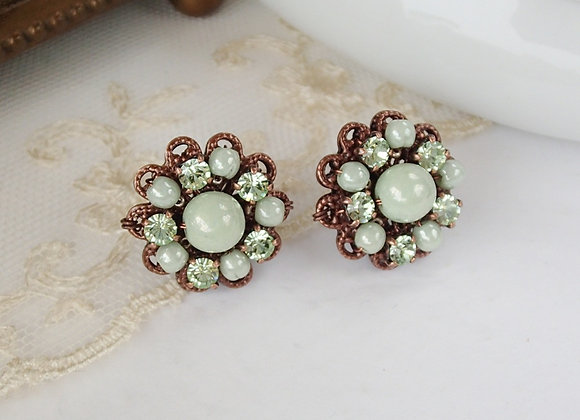 PASTEL GREEN RHINESTONE STUD EARRINGS SS 2018