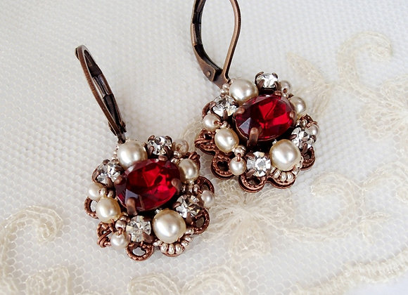 Red rhinestone earrings, jewelry in Marie Antoinette style