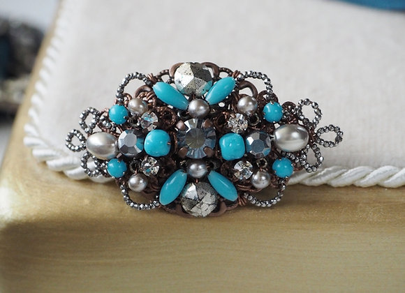 TURQUOISE GREY PEARL and CUT STEEL BROOCH front view