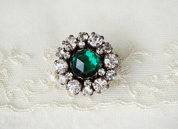 EMERALD GREEN ROSETTE RHINESTONE BROOCH SMALL