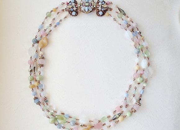 Pastel color necklace three row