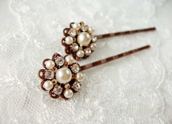 MD-23A Pair of BRIDAL HAIR CLIPS