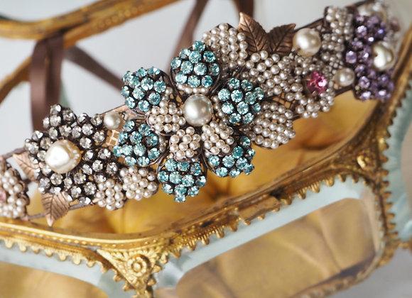 Rhinestone bridal headpiece pastel colors