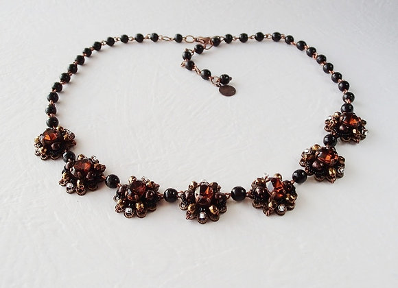 CHOCOLATE BROWN RHINESTONE NECKLACE