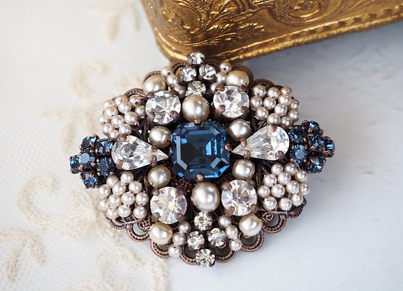 Montana BLUE RHINESTONE BROOCH vintage style jewelry
