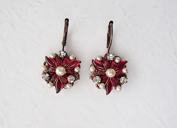 Ruby Red Holiday Earrings Poinsettia