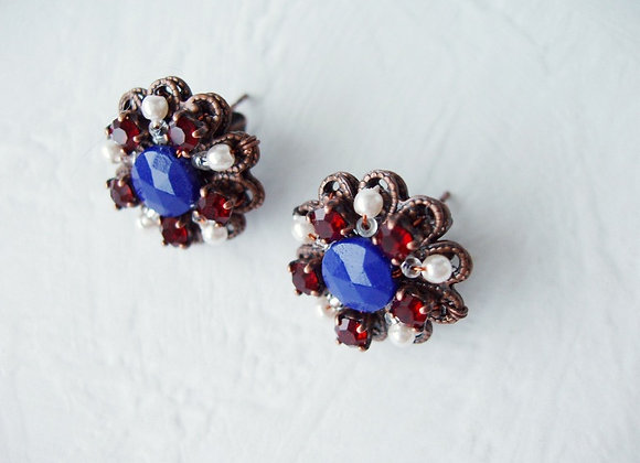 NAVY BLUE CRYSTAL RHINESTONE EARRINGS