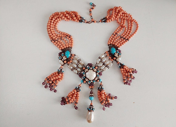 STATEMENT NECKLACE with ANTIQUE TRADE BEADS
