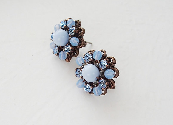 PASTEL BLUE RHINESTONE STUD EARRINGS