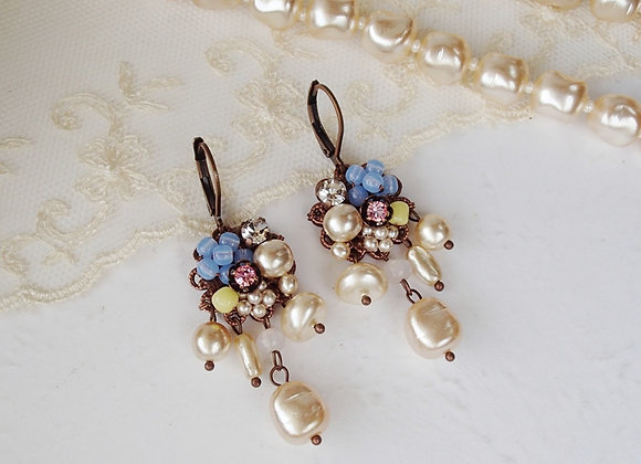 BAROQUE PEARL EARRINGS with PASTEL COLORS