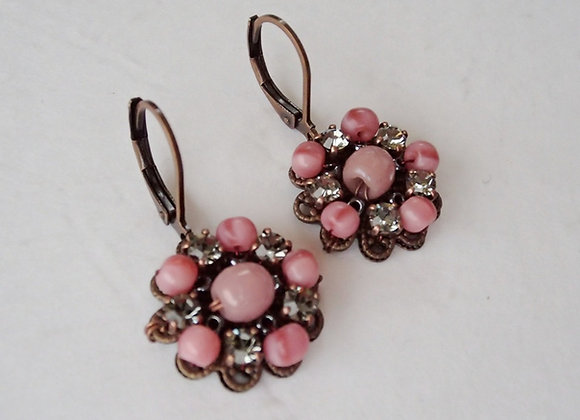 PINK and GREY RHINESTONE EARRINGS
