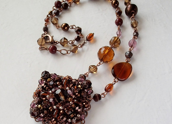 DARK BROWN RHINESTONE NECKLACE Flavors of Chocolate