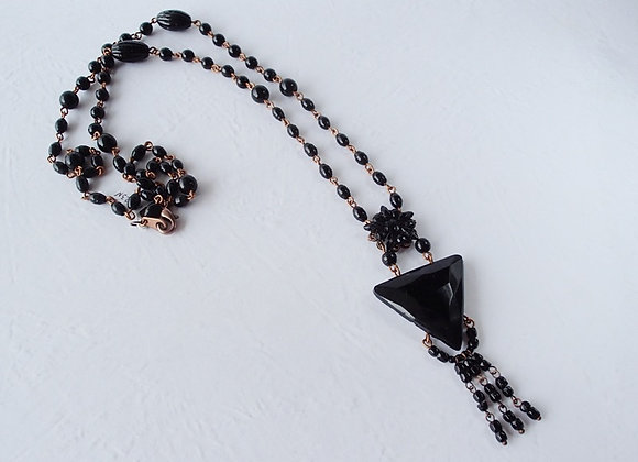 LONG BLACK NECKLACE with TRIANGLE