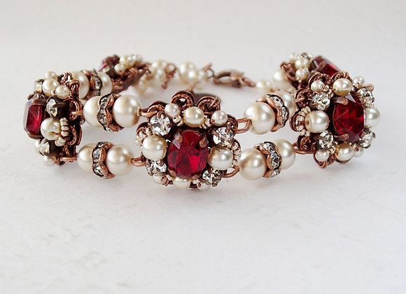 Red rhinestone bracelet. Historical jewelry