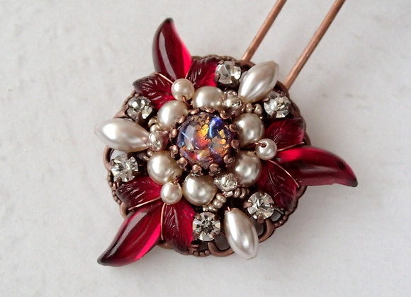 Ruby red hair pin Poinsettia