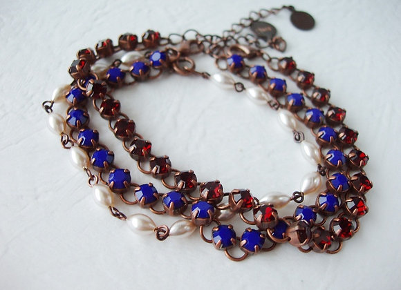 LAYERED BRACELETS in NAVY BLUE RED and PEARL
