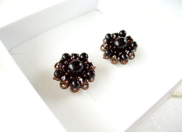 MD-23E BLACK RHINESTONE EARRINGS