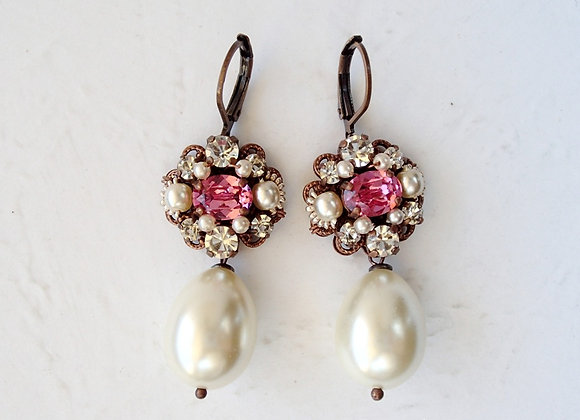 PINK RHINESTONE EARRINGS with PEARL DROP