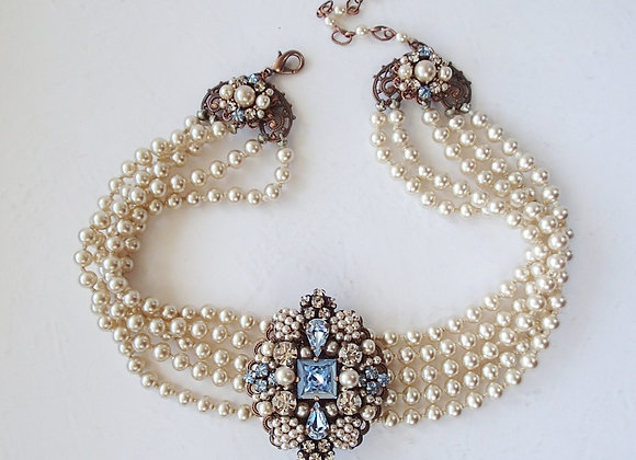 Victorian Style Pearl Necklace with Blue Brooch