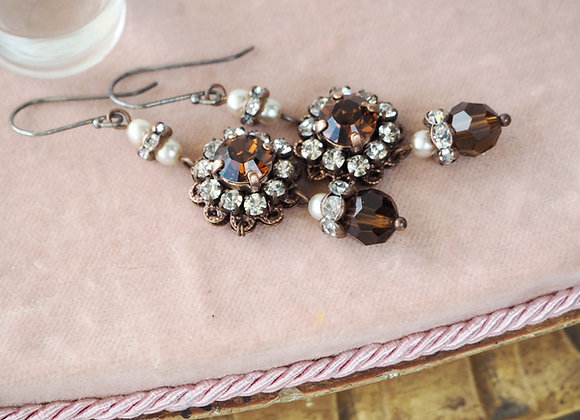 SMOKED TOPAZ Historical Style RHINESTONE EARRINGS