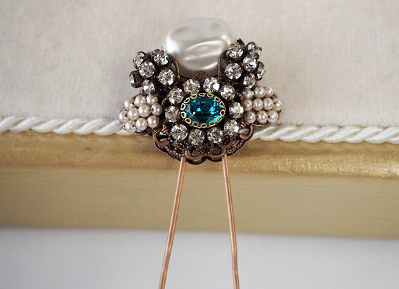 BAROQUE PEARL and TEAL BLUE HAIR PIN