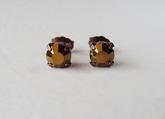 METALLIC BRONZE CRYSTAL STUD EARRINGS Flavors of Chocolate