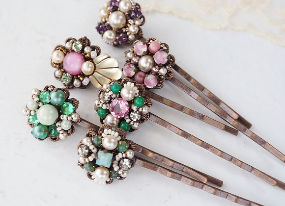 RHINESTONE HAIR PIN ASSORTED Green Pink Purple