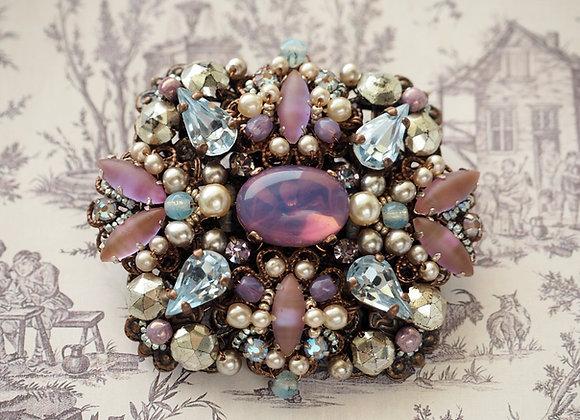 SAPHIRET & PURPLE RHINESTONE BROOCH vintage style rhinestone jewelry