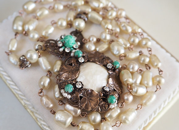 LONG PEARL NECKLACE with GREEN Baroque Pearls