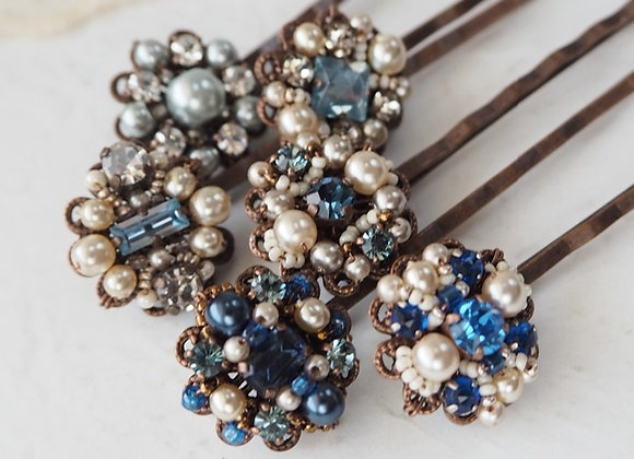 BLUE RHINESTONE HAIR PIN Hair Jewelry