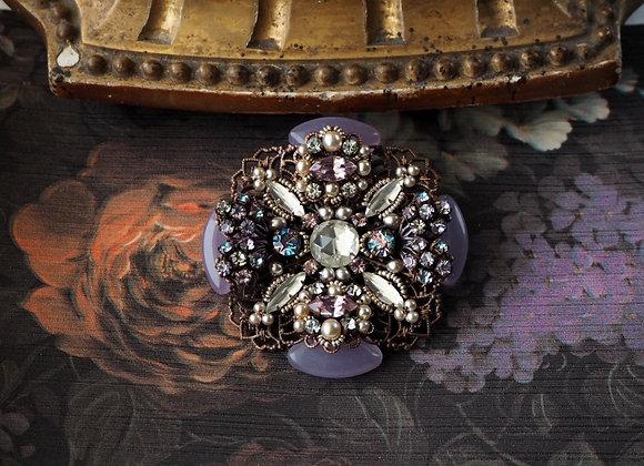 PURPLE RHINESTONE CROSS BROOCH vintage style rhinestone jewelry