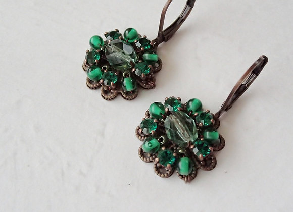 GREEN CRYSTAL RHINESTONE EARRINGS