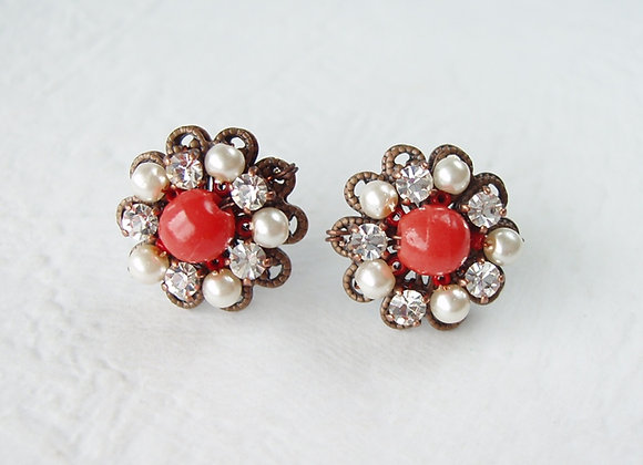 RED CRYSTAL RHINESTONE EARRINGS