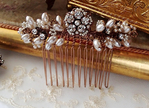 BRIDAL HAIR COMB Rhinestones and Pearls