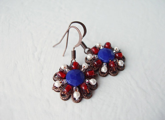NAVY BLUE DANGLES EARRINGS
