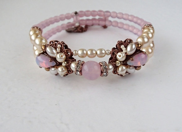 PINK OPAL and PEARL CUFF BRACELET vintage style jewellery