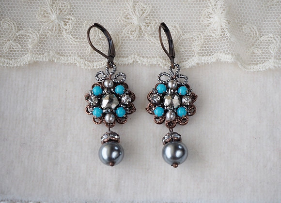 TURQUOISE GREY PEARL and CUT STEEL EARRINGS in vintage style