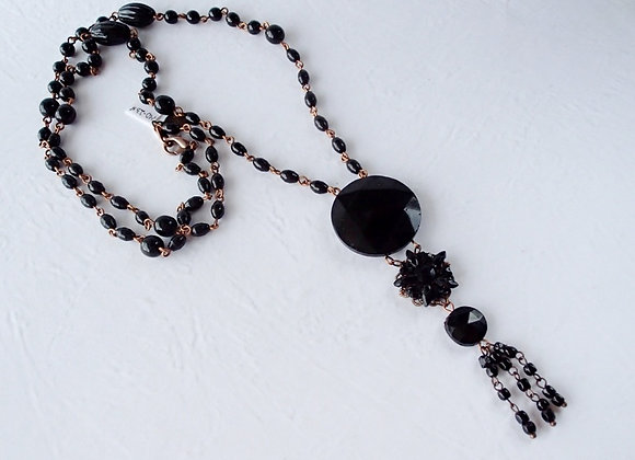 LONG BLACK NECKLACE with ROUND